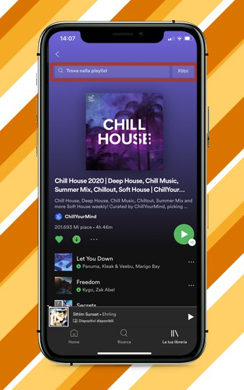 Spotify Cercare un Brano all'interno di una Playlist