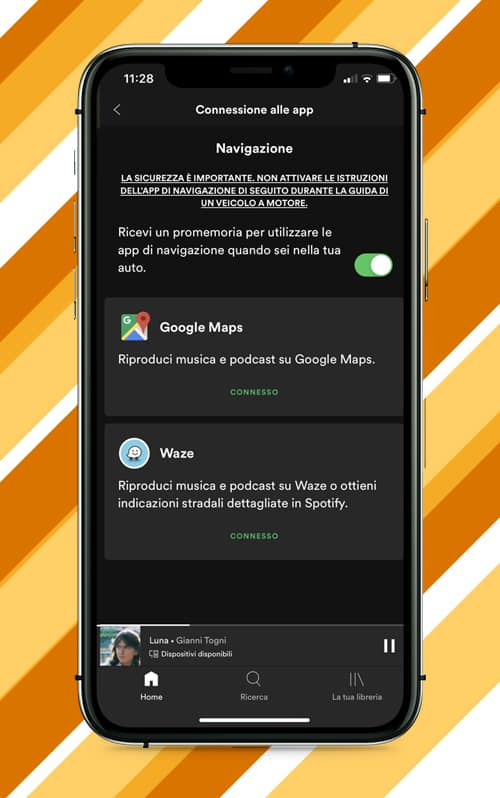 Usare Spotify con Google Maps e Waze